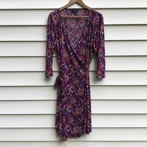 Tahari Arthur S. Levine Purple Print Wrap Dress